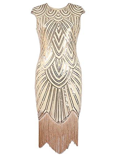 Samba Costumes For Sale (DanceQueen 1920's Latin Jazz Gatsby Evening Tango Competition Sequin Dance Dress 1 Piece Beige M)