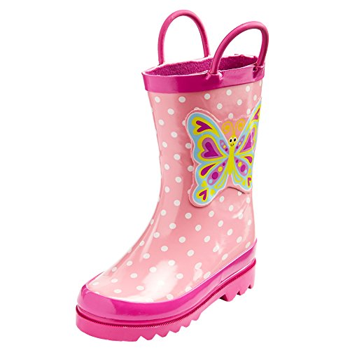 Puddle Play Toddler and Kids Waterproof Rubber Animal Rain Boots Easy-On Handles - Boys and Girls Fun Colors and Designs