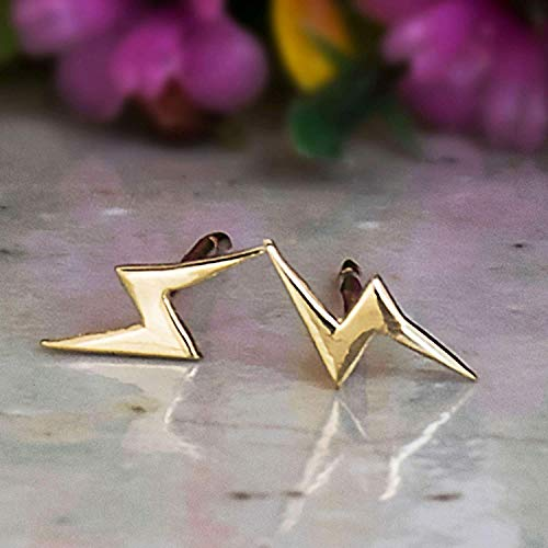 Amazon Com 14k Gold Lightning Bolt Stud Earrings 14k Solid Yellow Gold Bolts Studs Tiny Handmade Dainty Jewelry High Voltage Flash Thunder Simple Pushback Closure Birthday Gift For Young And Petite Women Handmade