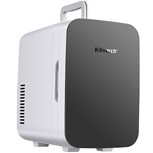 Kinverch Mini Fridge Electric Cooler and Warmer (6 Liter / 6 Can Plus) :110v AC / 12V DC Portable Thermoelectric System,,For Car /Home /Kichen/Junket/Outdoor for frinds / parents/yourself (Silver)