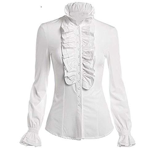HYIRI ✈Avantgarde Women Retro Stand-Up Collar Lotus Ruffle Victoria Shirts Blouse White