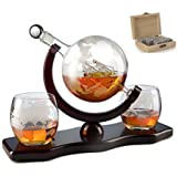 The Wine Savant World Decanter - With 2 Globe Glasses and Whiskey Stones For Whiskey or Wine With Antique Ship And Matching Globe Glasses (Mahogany Stained Wood), HOME BAR DECOR