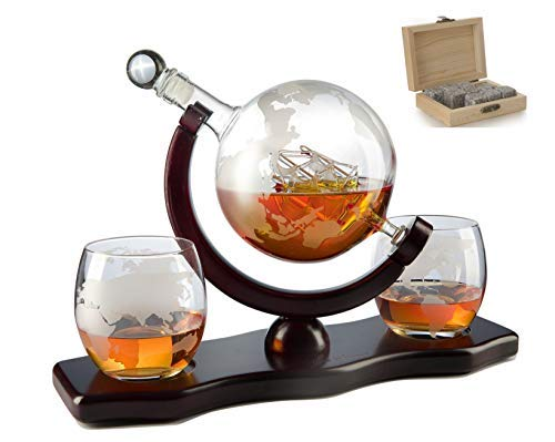 The Wine Savant World Decanter - With 2 Globe Glasses and Whiskey Stones For Whiskey or Wine With Antique Ship And Matching Globe Glasses (Mahogany Stained Wood), HOME BAR DECOR by The Wine Savant (Image #7)