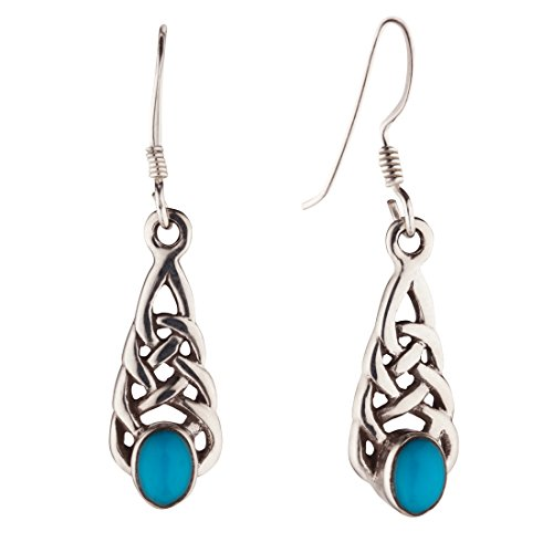 Silverly Women's .925 Sterling Silver Celtic Knot Simulated Turquoise Stone Dangle Earrings
