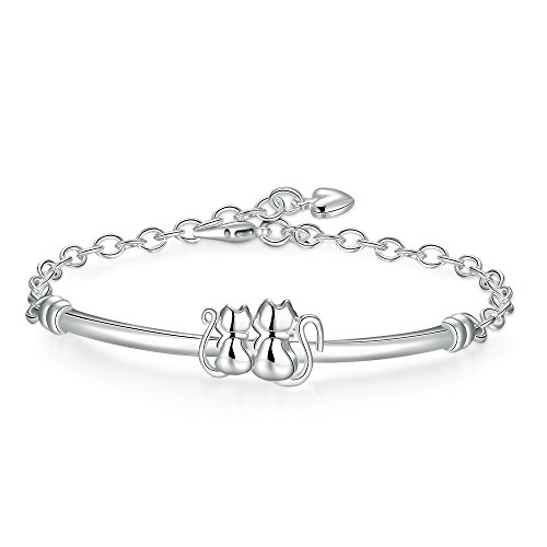 BFY Women's Silver Plated Cute Little Cats Link Bracelet