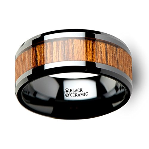 Thorsten SAGON Wood Black Ceramic Ring with Polished Beveled Edge and Genuine Rich Teak Wood Inlay 10mm from Roy Rose Jewelry