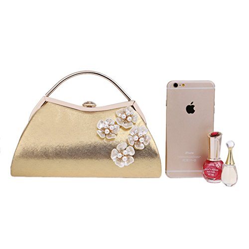 Women Evening Flowers Clutch For Color Handbag Shoulder Purse Bag Gold Bag KERVINFENDRIYUN Silver zwHpOqSS