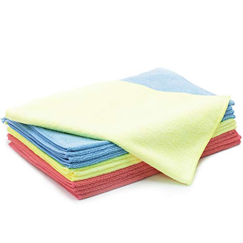 AIDEA Microfiber Cleaning Cloth 12-Pack - 3 Color Ultra Soft Super Absorbent Dust Cloth