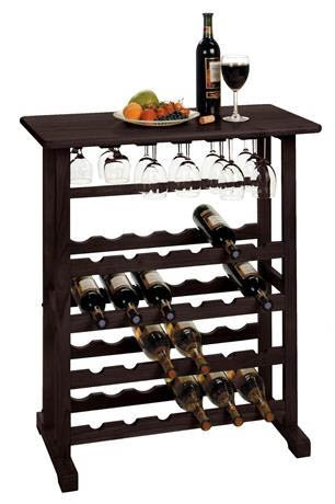 Vinny 24-Bottle W Glass Hanger Wine Rack In Dark Espresso Finish by Winsome's home (Vinny 24 Bottle Wine Rack compare prices)