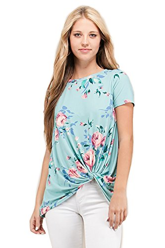 [Shopglamla Front Side Knot Print Boutique Short Sleeves Top Alexia New Mint M] (New Mint)