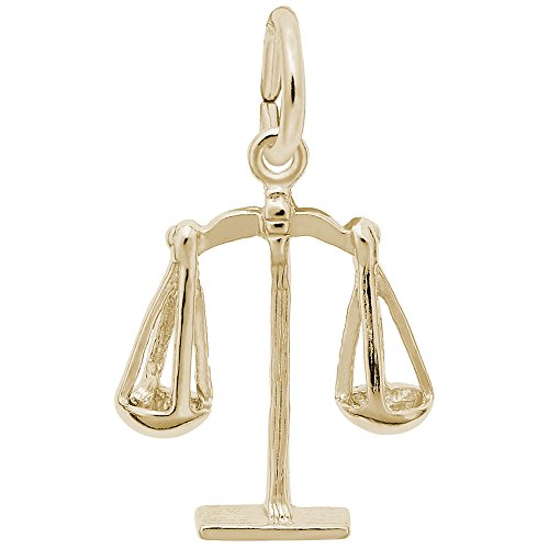 Gold Plated Scales Of Justice Charm, Charms for Bracelets and Necklaces (Gold Justice Plated)