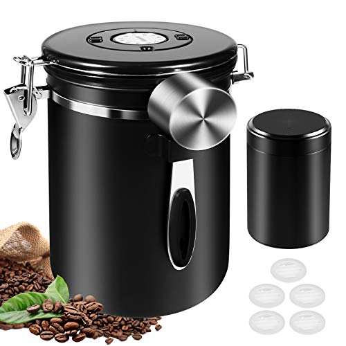 Airtight Coffee Canister, Tea and Coffee Containers 1800ML Stainless Steel Storage Jars with 60ML Mini Travel Jar, Date Tracker, 30ML Measure Scoop and One-Way CO2 Valve for Beans, Ground, Sugar, Tea