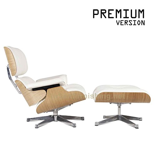 UrbanFurnishing.net - Mid Century Plywood Lounge Chair & Ottoman - White Aniline Leather / ()