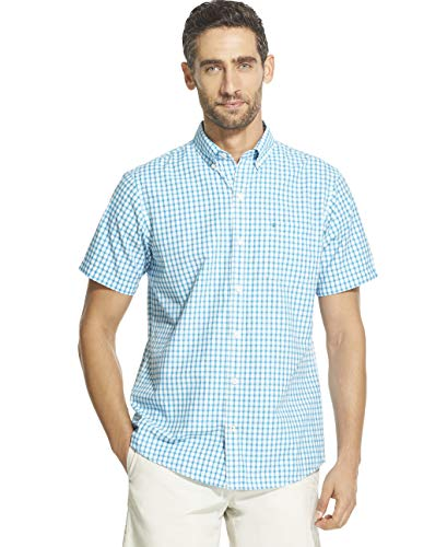 IZOD Men's Breeze Short Sleeve Button Down Gingham Shirt, Caneel Bay, Small ()