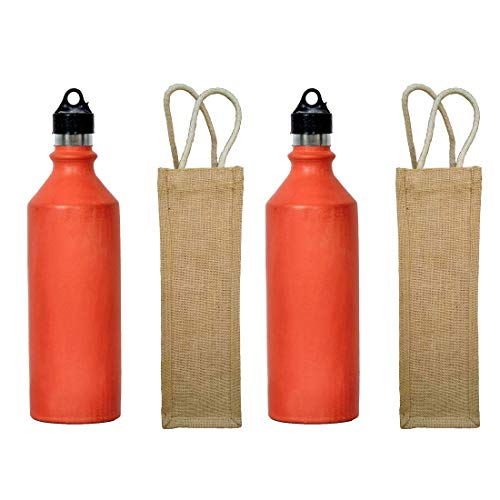 Odishabazaar Pack of 2 Handmade Clay Terracotta/Real Mitti Unglazed Water Bottle + Jute Bag 1000ml Health Benefits