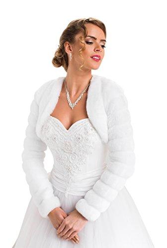 Eco A In Foderata Completamente Giacca Manica Stile pelliccia Da Lunga Bianco Sposa Bolero xw08Bgq