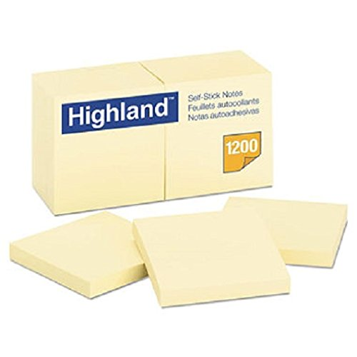 Highland 6549YW Self-Stick Notes, 3 x 3, Yellow, 100-Sheet (Pack of 12) (3 Inch Stick)