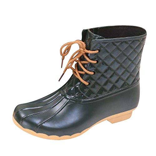 Beige Hibote Damen Stiefeletten Worker Boots Warm Gefütterte