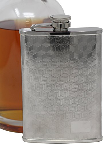 (8 oz Pocket Hip Alcohol Liquor Flask in Etched 3D Cube Print - Made from 304 (18/8) Food Grade Stainless Steel)