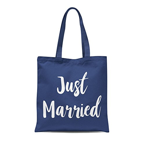 Married Tote Just Print Printed Bag Bride White Gift Shopping With Groom Party Navy Honeymoon Wedding fCwqwUxdE