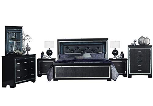 Nightstand Alligator - Algiers 6PC Bedroom Set Queen LED Bed, Dresser, Mirror, 2 Nightstand, Chest in Black Alligator Embossed