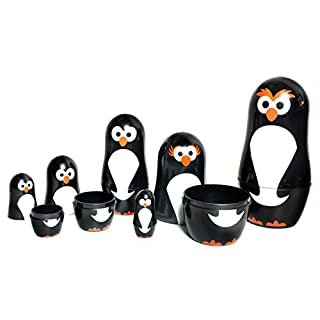 Penguin Nesting Dolls - 6 Matryoshka Penguins - All Hollow To Fit Inside Each Other