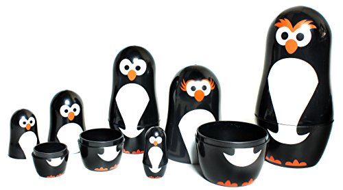 Penguin Nesting Dolls - 6 Matryoshka Penguins - All Hollow To Fit Inside Each Other (Penguin Toys)