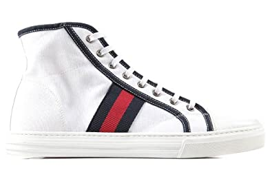 Gucci men\u0027s shoes high top trainers sneakers sepang white UK