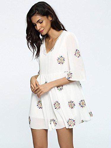 Jollychic Damen Plissee Kleid weiß weiß