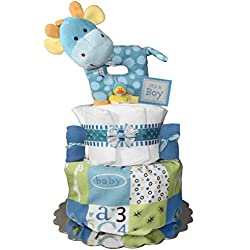 Giraffe Diaper Cake - Baby Shower Gift - Newborn Centerpiece - Blue and Green