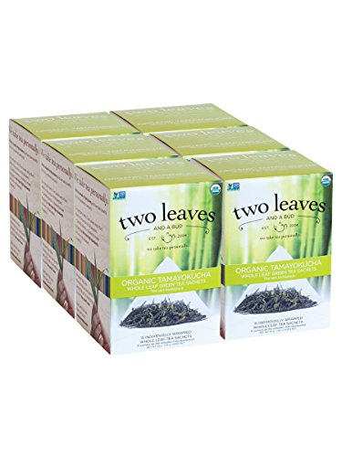 Two Leaves and a Bud Organic Tamayokucha Green Tea Bags, 15 Count (Pack of 6) Organic Whole Leaf Moderate Caffeine Green Tea in Pyramid Sachet Bags, Delicious Hot or Iced with Sugar or Honey or Plain