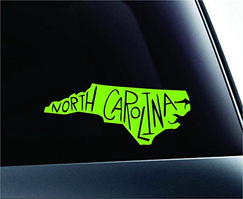 State Name North Carolina Symbol Decal Funny Car Truck Sticker Window (Lime Green) (Carolina North Car State)