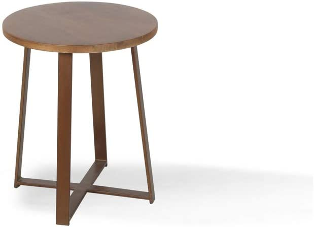Alveare Home Paige Round Side Table, Brown Light Tone