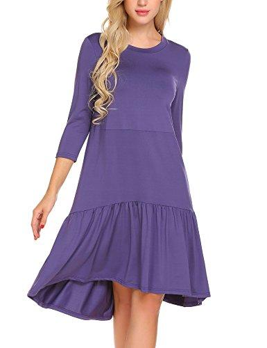 (ELESOL Woman 3/4 Sleeve Flowy Tunic Aline Pleated Spring Dress Loose Tunic Dress)