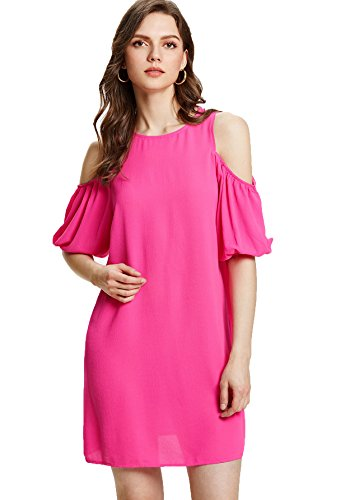 Milumia Women's Summer Cold Shoulder Ruffle Sleeves Shift Dress Hot Pink Large ()