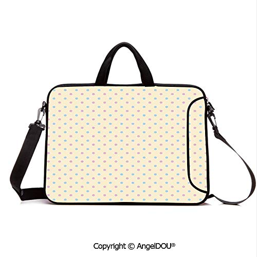 (AngelDOU Laptop Sleeve Notebook Bag Case Messenger Shoulder Laptop Bag Retro Polka Dots Small Coin Sized Little Spots Old Epochs Fashion Pattern Compatible with MacBook HP Dell Lenovo Cream Blue)
