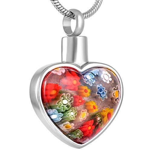 Murano Rose Pendant - RanMory31 Glass Heart Pendant Free Plastic Funnel!Murano Glass Flower Heart Pendant Urn Necklace Memorial Keepsake Cremation Ashes Jewelry