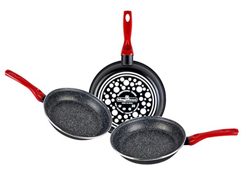 Magefesa Set of 3 Frying Pans 18Ø 20Ø 24Ø Enamelled Steel, with Non-Stick Multi-Layer Stone Effect, Suitable for All Types of Cookers Including Induction, Black, 3 -