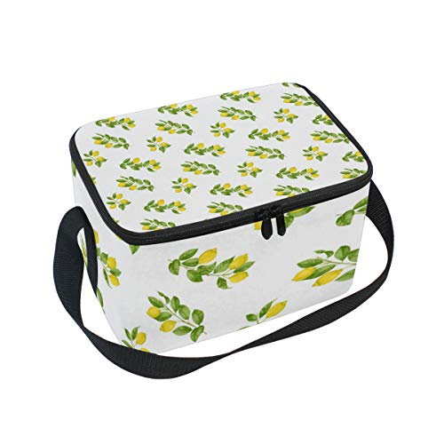 Long Lemon The Leaves Adult Lunch Box Lunch Insulated Bag Large Cooler Tote Bag for Men, Women Large Soft Cooler Insulated Picnic Bag