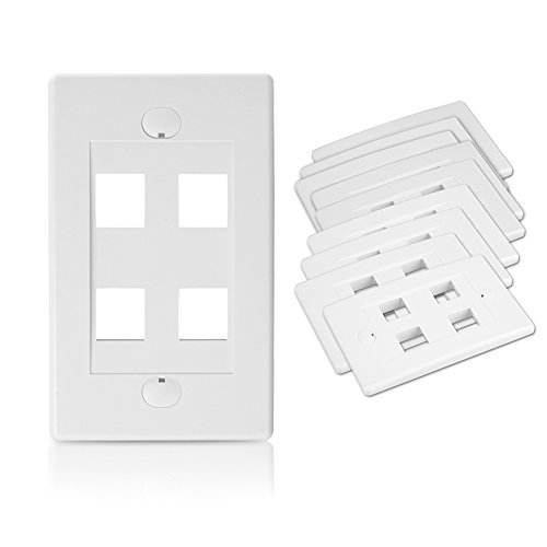 [UL Listed] Cable Matters 10-Pack 4 Port Keystone Wall Plate (Cat6/Cat5e Ethernet Wall Plate) in White