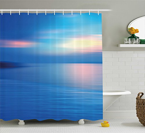 Ocean View Bath - Ambesonne Landscape Shower Curtain, Panoramic Ocean Seascape View in Dawn or Sunset Romantic Print, Fabric Bathroom Decor Set with Hooks, 70 Inches, Sky Blue Turquoise and Blue