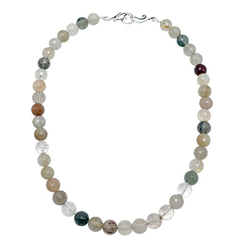 Faceted Rutilated Quartz Strand - 8mm Round Faceted Rutilated Quartz Crystal Bead Necklace