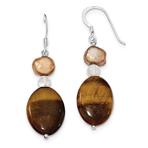 - Sterling Silver Rock Quartz/Tiger's Eye/Brown Freshwater Cultured Pearl Earrings