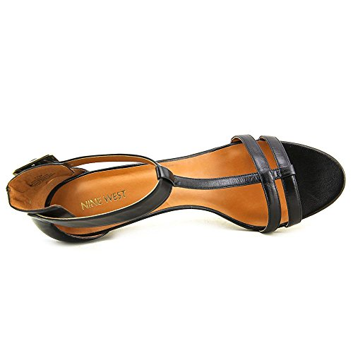 Nine West Out Late Womens Size 5.5 Black Leather Dress Sandals Shoes