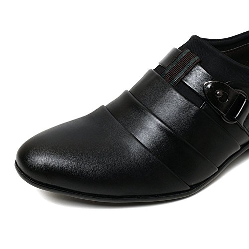 Zapatos de Hombres Boda Negro de Vestir Casual de Oxfords Británico Estilo Planos Comodidad Mocasines Minetom Negocios On Slip FPSqZ