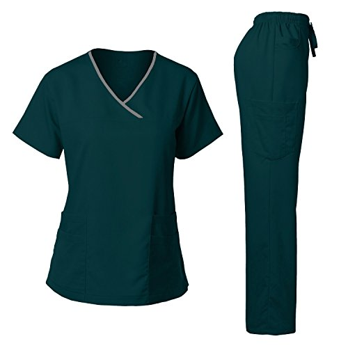 Women's Scrub Set Stretch Top and Pants Caribbean L (Contrast Stretch Scrub Top)