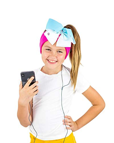 JoJo Siwa Headphones by CozyPhones - Volume Limited with Ultra-Thin Speakers & Stretch Headband & Detachable Bow & Clip