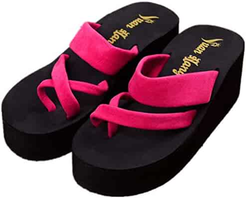 7950539bda4d8f QINGYAUN Womens High Heel FlipFlop Wedge Thong Summer Beach Bohemia Slipper  Sandals