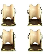 WaiMin (4 stks) U-vormige groef wiel nylon type spoor wiel plastic enkele katrol bewegende deur rijden roestvrij staal maat gids wiel fittingen (Maat: 2 inch)