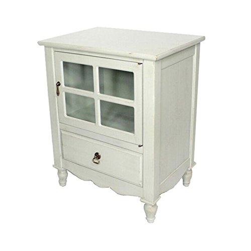 Heather Ann Creations The Vivian Collection Contemporary Living Room Wooden Single Door Single Drawer Accent Cabinet with 4-Paned Glass Inserts, Light Sage